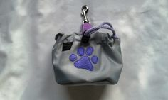 Grey dog treat bag with a paw motif by DoGATAilla on Etsy