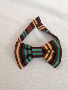 Brown Striped Dog Bow Tie by LizzyAndMeekoShop on Etsy