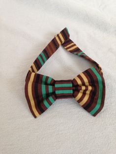 Brown Striped Dog Bow Tie by LizzyAndMeekoShop on Etsy