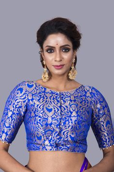 104607b80f4df Royal Blue Banarasi Silk Saree Blouse in Size 40 Sari Blouse