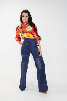 70s Hippie Jeans Bell Bottom Patchwork Denim Pants for sale at ScarletFury, $68.00, https://www.etsy.com/listing/163255809/70s-hippie-jeans-bell-bottom-patchwork?ref=shop_home_active_1 Women's Vintage Fashion