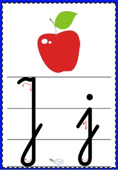 Litera Jj- plansza demonstracyjna FREEEE Montessori, Alphabet, Symbols, Letters, School, Cards, Blog, Asia, Children