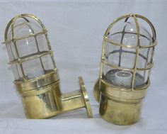 New Nautical Marine Brass Passage Lights Set Of 2 Pieces Other Maritime Antiques