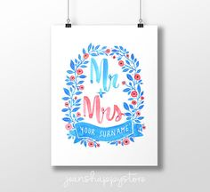 CUSTOMIZABLE Mr  Mrs  Various Dimensions  ART PRINT Party Items, Party Gifts, Painted Letters, Hand Painted, Watercolors, Watercolor Paintings, Great Wedding Gifts, Father Of The Bride, Christian Gifts