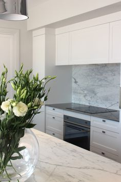 My Kitchen - Carrara Marble waterfall benchtop and splashback, Copacabana pendants and fully integrated appliances. Kitchen Interior, Interior, Kitchen Cabinets, White Shaker Kitchen, Kitchen, Kitchen Dining Room, Kitchens Bathrooms, Kitchen Cabinet Drawers, Kitchen Styling