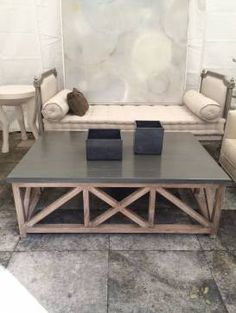 Banks Coffee Table With Aluminum Top   Mecox Gardens