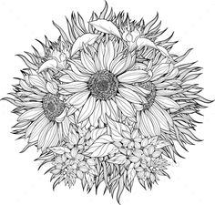Close Up View Of Bunch Sunflowers Coloring Page Sunflower Pages Sunflower Coloring Pages, Sunflower Drawing, Mandala Coloring Pages, Colouring Pages, Coloring Books, Pattern Coloring Pages, Adult Coloring Book Pages, Printable Adult Coloring Pages, Sunflower Colors