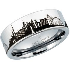 Las Vegas Cityscape Men S Tungsten Ring