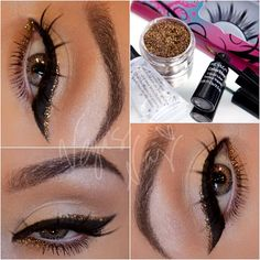 """1.) prime eye w/ primer potion 2.) using Naked palette #1 pat VIRGIN on lid & brow bone; then apply NAKED on crease sweeping back & forth (like a windshield wiper) w/ a blender brush 3.) apply cat wing w/ Revlon's liquid liner 4.) wash the Revlon brush w/ water until it runs clear; then mix Sally Girl """"Gel Adhesive for glitter"""" (found at Sally's) & GLIMMER Los Angeles """"Bronze"""" loose glitter, and use the Revlon wand to apply a perfect line above the black liner. Add a smidgen on inner lower"""