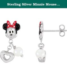 Sterling Silver Minnie Mouse with Enamel & Freshwater Cultured Pearl Earrings. Sterling Silver Minnie Mouse with Enamel & Freshwater Cultured Pearl Earrings.