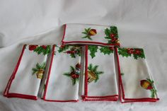 Vintage Christmas Dinner Napkins set of Five with by GRCBooks, $35.00