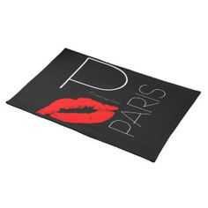 Greetings from Paris Red Lipstick Kiss Black Placemat