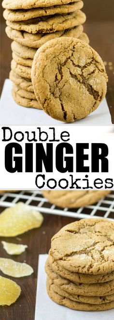 When one kind of ginger isn't enough, add another! These Double Ginger Cookies bake up soft, chewy, and flavorful with no dough to roll out! #gingercookies #cookies #softandchewy #dessert
