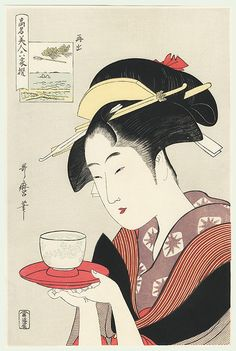 This Japanese art print is a portrait of the tea house waitress Naniwaya Okita in a beautiful kimono serving a cup of cm) Fine Art Print Framed, Poster, Canvas Prints, Puzzles, Photo Gifts and Wall Art Japanese Artwork, Japanese Painting, Japanese Prints, Chinese Painting, Arte Chakra, Inspiration Artistique, Art Japonais, Art Et Illustration, Art Illustrations