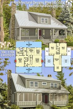 Architectural Designs House Plan 58555SV is a great vacation escape. 3BR | 2.5BA | 2,400SQ.FT. | Ready when you are. Where do YOU want to build? #58555SV #adhouseplans #architecturaldesigns #houseplan #architecture #newhome #newconstruction #newhouse #homedesign #dreamhome #dreamhouse #homeplan #architecture #architect #rustichome #rustichouse #countryhome #countryhouseplan #countryhomeplan #rustichomeplan #rustichouseplan