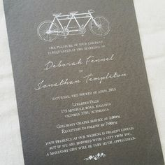 """""""Pretty in grey! This is a lovely invite with white ink screen printed on grey KW Doggett paper!  #silkscreen #screenprint #weddings #weddinginvites #invites #ido #engaged #weddingstationery #whiteink #custominvites"""""""