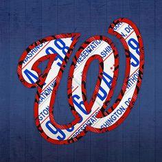 Washington Nationals Vintage Baseball Logo License Plate Art.