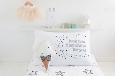 The amazement and excitement when little eyes spot the first star in the night sky. Perfect for a girls or boys rooms, or any coldplay fan.  Handmade and printed on 100% Cotton. Designed, printed and Made in Australia.  Standard size single pillowcase