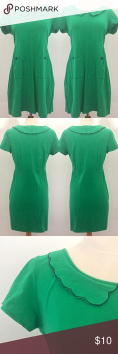 """Kelly green jersey dress Cute Kelly green jersey dress with blue accents. Has a Peter Pan collar and two front pockets with decorative buttons. Marked a size medium, bust measures 35"""" & waist 32"""". Dress has lots of give, and depending on how fitting you'd like it to be it can accommodate sizes small to large. Tags: retro, vintage, grunge, babydoll Tulle Dresses Midi"""