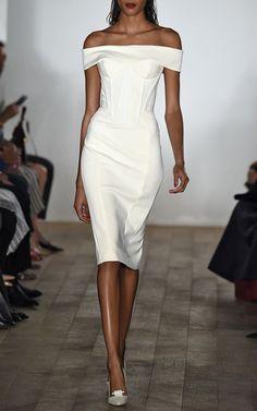 Bonded Crepe Dress In Papyrus by Zac Posen - Moda Operandi from Moda Operandi. Shop more products from Moda Operandi on Wanelo. Timeless Fashion, High Fashion, Little White Dresses, Black White Fashion, Glamour, Crepe Dress, Zac Posen, Beautiful Outfits, Stunning Dresses
