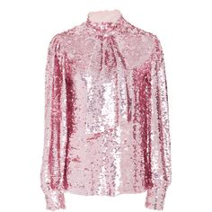 MSGM Tie-Neck Sequin Blouse ($945) ❤ liked on Polyvore featuring tops, blouses, pink, sequin embellished top, pink blouse, pink top, sequin blouse and neck tie top