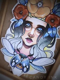 #creepy #neo #traditional #girl #portrait #bug #eye #flowers #cold #design