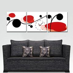 Modern Style Red and Black Floral Wall Clock in Canvas 3pcs – USD $ 53.99