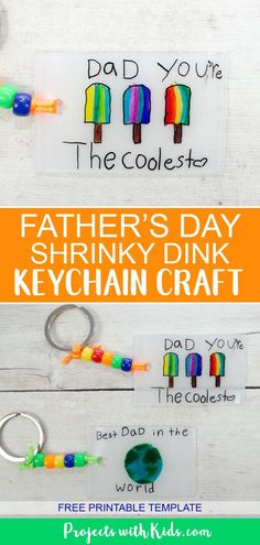 Kids will have fun making this super easy Father's Day keychain craft using shrinky dinks! perfect fathers day gift, diy bday gifts for dad, gifts for grandpa diy Diy Father's Day Gifts Easy, Easy Fathers Day Craft, Father's Day Diy, Shrinky Dinks, Craft Projects For Kids, Diy For Kids, Craft Kids, Fathersday Crafts, Father's Day Activities