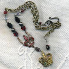 $265.00 Antique Necklace Boho, French, Vintage, Crown, Fleur De Lis, has its Perks-The Necklace-