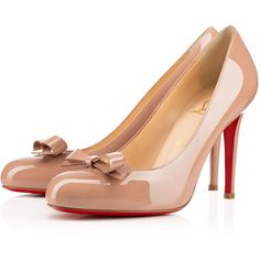 Christian Louboutin Simplenodo (15.659.750 VND) ❤ liked on Polyvore featuring shoes, pumps, louboutins, heels, nude, nude pumps, nude patent leather pumps, heels & pumps, round toe pumps and patent pumps
