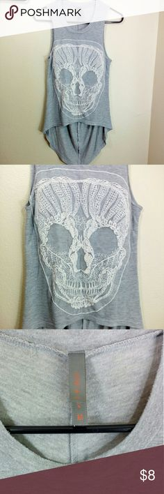 Jesse & J lace skull detailed shirt high low  size medium cut off sleeves Tops Tees - Short Sleeve