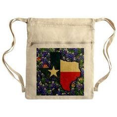 Messenger Bag Sack Pack Khaki Texas Flag Bluebonnets