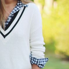 Love nautical but stripes aren't your thing? Try a simple sweater vest with navy plaid.