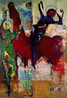 Red Horse (Cavallo Rosso), by Marino Marini, 1952, 20th Century, oil on canvas, 200 x 140 cm Creator Marini, Marino (1901-80)