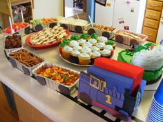 Thomas the train birthday party: Another great loaf pan food train idea! Thomas the train birthday party: Another great loaf pan food train idea! by dorothea Source by Thomas Birthday Parties, Thomas The Train Birthday Party, Trains Birthday Party, Birthday Fun, Birthday Party Themes, Birthday Ideas, Third Birthday, Dinosaur Train Party, Zug Party