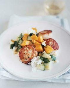 Scallops With Sweet Cucumber and Mango Salsa from realsimple.com #myplate #protein #vegetables #fruit #grain