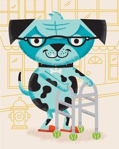 Family Circle Illustration: Aging Pets - illustration 1 - work - tad carpenter