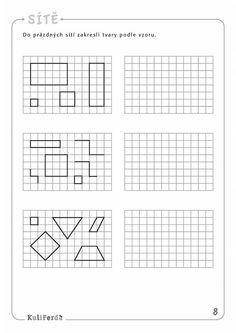 Ukazkove strany KuliFerda MS zrakove vnimani II Dot To Dot Printables, Tangram, Perception, Coloring Books, Preschool, Therapy, Dots, Coding, Activities