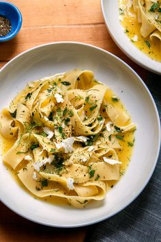 Pasta With Lemon, Herbs and Ricotta Salata by cooking.nytimes: Here's a light, brothy pasta with chicken stock, lemon zest, mint and ricotta salata that Amanda Hesser brought to The Times in 2001 It's easy yet elegant; perfect for a impromptu weeknight dinner party If you can get your hands on a Meyer lemon, do so and use that, but the recipe works just as well with a standard lemon. #Pasta #Lemon #Herbs #Ricotta #MInt