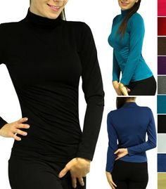 Must Have Basic Long Sleeve Turtleneck Tee Shirt Classic Mock Neck Top Lightweight Stretch Material - 10 Colors - One Size