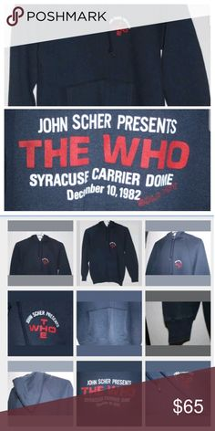 b67e70089391 The Who Concert Hoodie Sweatshirt 1982 John Scher Vintage John Scher  presents The Who 1982 Syracuse Carrier Dome Hoodie Rare and limited  production Men s ...