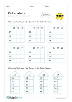 Worksheet: Calculation tables addition (up to - mix tasks - Holly's Education Archive 2nd Grade Math Worksheets, School Worksheets, Math For Kids, Fun Math, Math Workshop, Reading Activities, Elementary Education, Business For Kids, Learn To Read