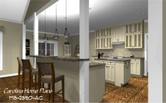 Spacious open kitchen with lunch counter. Country cottage style house plan number MS-2390-AC.
