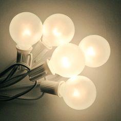 G40 Globe String Lights Set - White Satin w/ White Cord | C7 Patio Lights