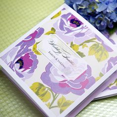 50 Sets Wedding Invitation Purple Floral Pint 50 Cards+50 Evps+50 Seals BH1017 #BHandsCard