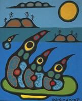 Untitled - Loons on Creation Circle - Norval Morrisseau