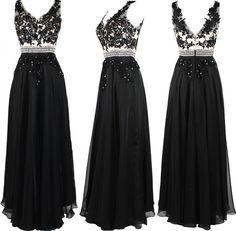 V Neck Champagne Top With Black Appliqued A Line Floor Length Dress Prom Dress on Luulla