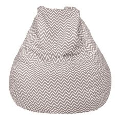 Large Teardrop Chevron Bean Bag Chair, Grey