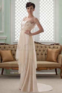 Empire V-Neck Short-Sleeves Court Train Beading Wedding Dress 3