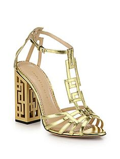 Perfect for all the GREEK GIRLS!!!  Charlotte Olympia Geometric Cutout-Heel Metallic Leather Sandals